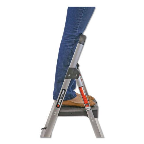 Aluminum Step Stool Ladder, 2-Step, 225 lb Capacity, 18.5w x 23.5 spread x 38.5h, Silver. Picture 5