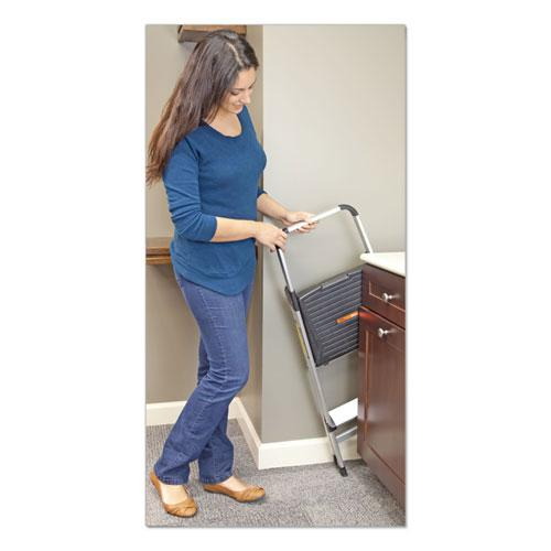 Aluminum Step Stool Ladder, 2-Step, 225 lb Capacity, 18.5w x 23.5 spread x 38.5h, Silver. Picture 4
