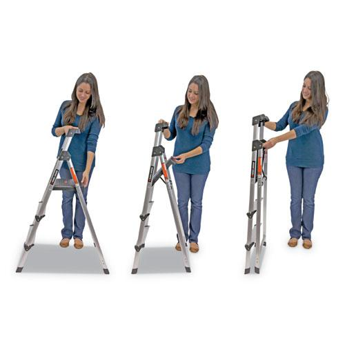 Aluminum Step Stool Ladder, 3-Step, 225 lb Capacity, 20w x 31 spread x 47h, Silver. Picture 6