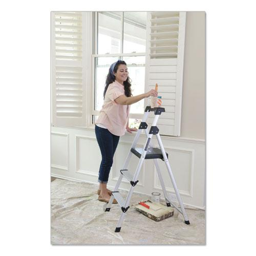 Aluminum Step Stool Ladder, 3-Step, 225 lb Capacity, 20w x 31 spread x 47h, Silver. Picture 8