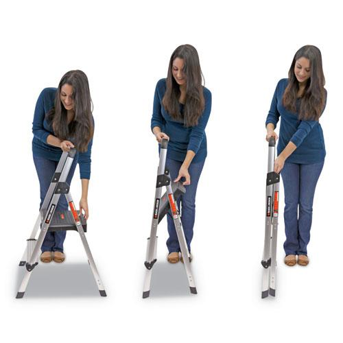 Aluminum Step Stool Ladder, 2-Step, 225 lb Capacity, 18.5w x 23.5 spread x 38.5h, Silver. Picture 10