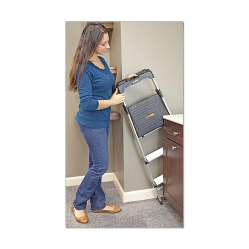 Aluminum Step Stool Ladder, 3-Step, 225 lb Capacity, 20w x 31 spread x 47h, Silver. Picture 5