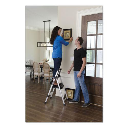 Aluminum Step Stool Ladder, 2-Step, 225 lb Capacity, 18.5w x 23.5 spread x 38.5h, Silver. Picture 3
