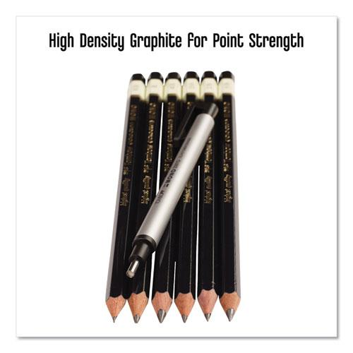 Drawing Pencil Set with Eraser, 2 mm, Assorted Lead Hardness Ratings, Black Lead, Black Barrel, 6/Pack. Picture 6