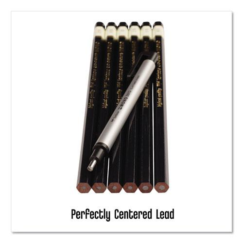 Drawing Pencil Set with Eraser, 2 mm, Assorted Lead Hardness Ratings, Black Lead, Black Barrel, 6/Pack. Picture 9