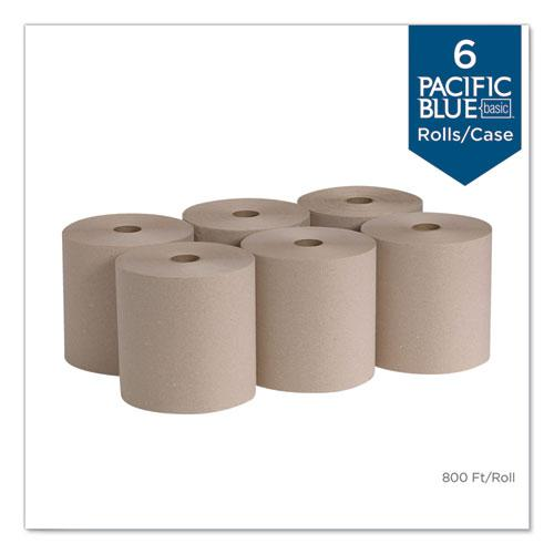 Pacific Blue Basic Nonperforated Paper Towels, 7 7/8 x 800 ft, Brown, 6 Rolls/CT. Picture 2