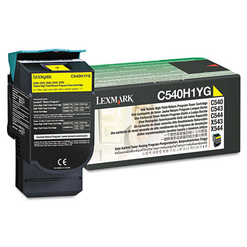 C540H1YG Return Program High-Yield Toner, 2,000 Page-Yield, Yellow. Picture 1