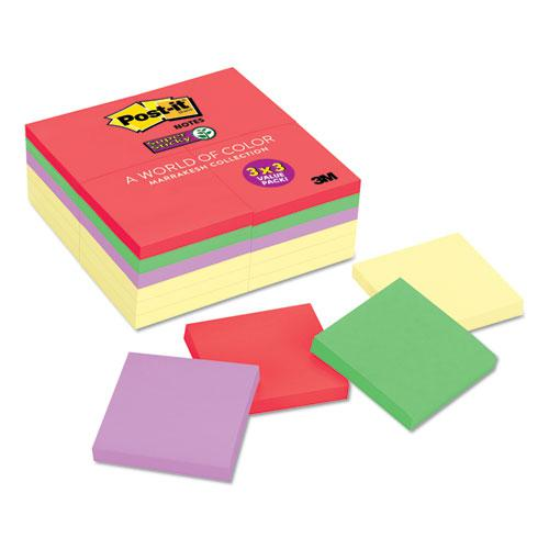 Note Pads Office Pack, 3 x 3, Canary Yellow/Marrakesh, 90-Sheet, 24/Pack. Picture 1