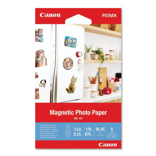 Glossy Magnetic Photo Paper, 13 mil, 4 x 6, White, 5 Sheets/Pack. Picture 1