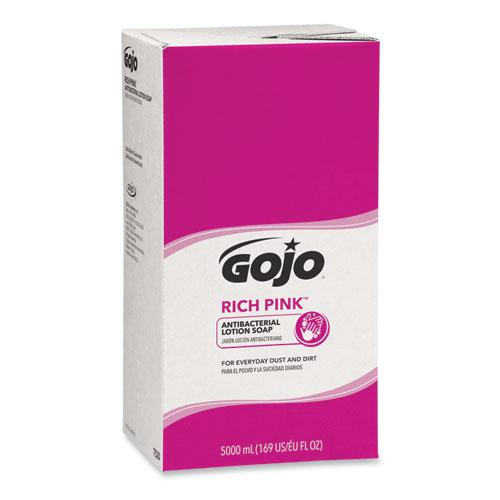 RICH PINK Antibacterial Lotion Soap Refill, 5000 mL, Floral Scent, Pink, 2/Carton. Picture 1