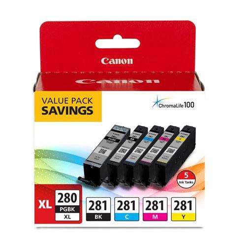 2021C007 (CLI-281; PGI-280 XL) Ink, Black XL/Black/Cyan/Magenta/Yellow, 5/Pack. Picture 1