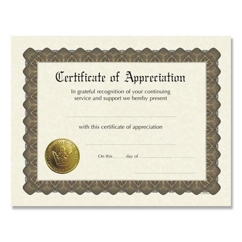 Ready-to-Use Certificates, 11 x 8.5, Ivory/Brown, Appreciation, 6/Pack. Picture 1