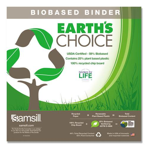 """Earth's Choice Biobased D-Ring View Binder, 3 Rings, 2"""" Capacity, 11 x 8.5, White. Picture 2"""