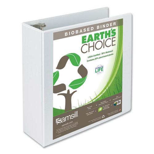 """Earth's Choice Biobased Round Ring View Binder, 3 Rings, 4"""" Capacity, 11 x 8.5, White. Picture 1"""