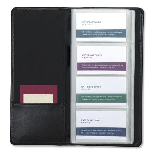 Regal Leather Business Card File, Holds 96 2 x 3.5 Cards, 4.75 x 10, Black. Picture 5