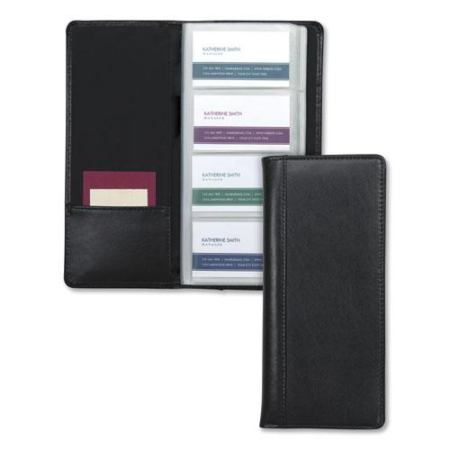 Regal Leather Business Card File, 96 Card Capacity, 2 x 3 1/2 Cards, Black