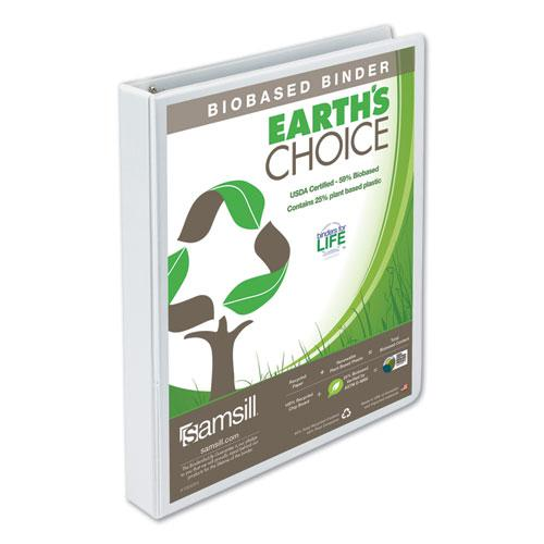 """Earth's Choice Biobased Round Ring View Binder, 3 Rings, 1"""" Capacity, 11 x 8.5, White. Picture 1"""