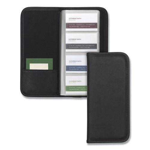 Professional Vinyl Business Card File, 160 Card Cap, 2 x 3 1/2 Cards, Black