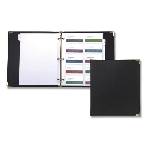 Classic Vinyl Business Card Binder, 200 Card Cap, 2 x 3 1/2 Cards, Ebony. Picture 1