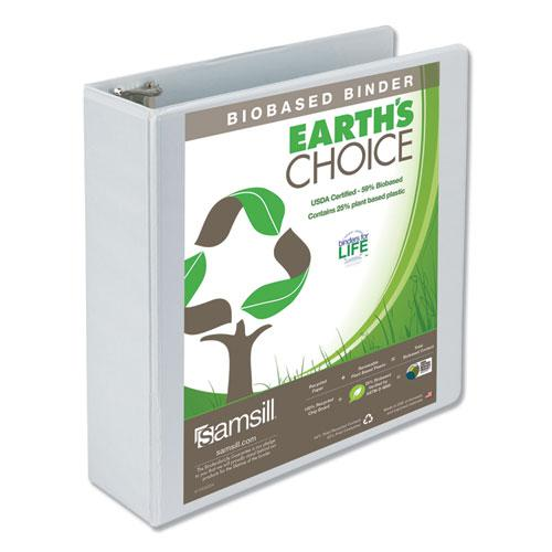 """Earth's Choice Biobased Round Ring View Binder, 3 Rings, 3"""" Capacity, 11 x 8.5, White. Picture 1"""