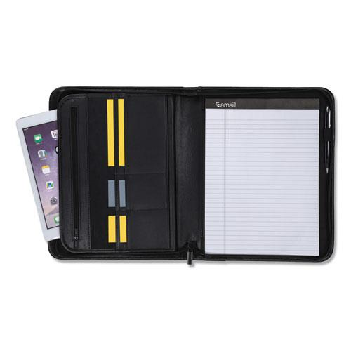Professional Zippered Pad Holder, Pockets/Slots, Writing Pad, Black. Picture 7