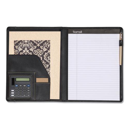 Slimline Padfolio, Leather-Look/Faux Reptile Trim, Writing Pad, Black. Picture 2