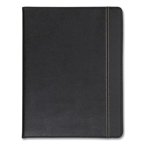 Slimline Padfolio, Leather-Look/Faux Reptile Trim, Writing Pad, Black. Picture 4