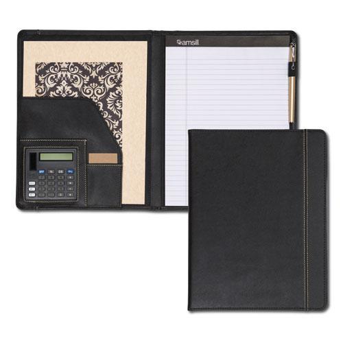 Slimline Padfolio, Leather-Look/Faux Reptile Trim, Writing Pad, Black. Picture 1