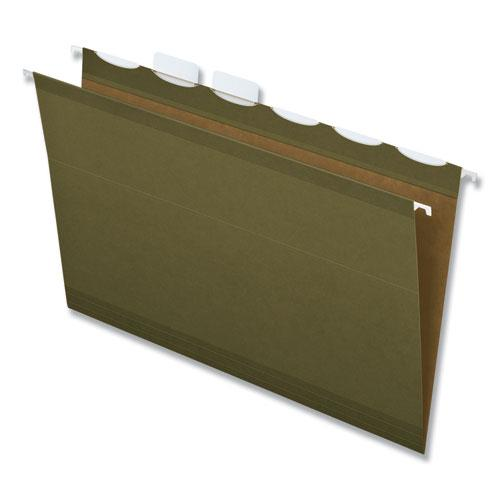 Ready-Tab Reinforced Hanging File Folders, Legal Size, 1/6-Cut Tab, Standard Green, 25/Box. Picture 1