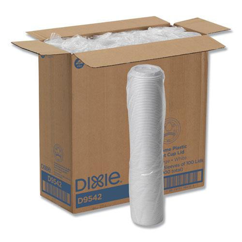 Reclosable Lids for 12 and 16 oz Hot Cups, White, 100 Lids/Pack, 10 Packs/Carton. Picture 1