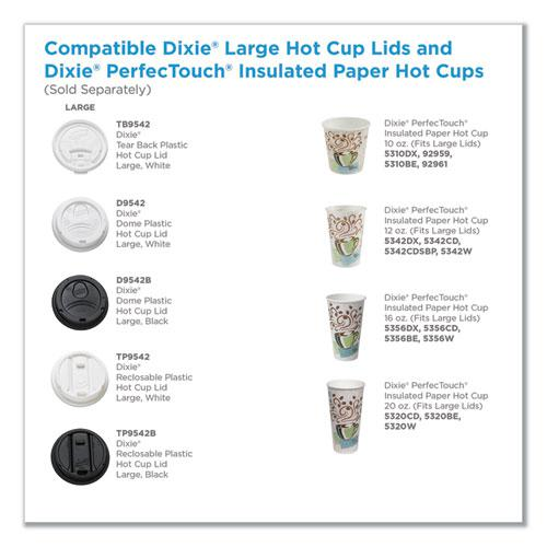 Reclosable Lids for 12 and 16 oz Hot Cups, White, 100 Lids/Pack, 10 Packs/Carton. Picture 2