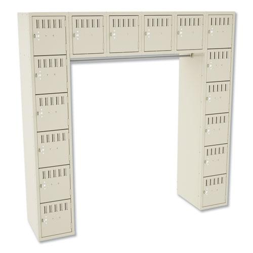 Sixteen Box Compartments and Coat Bar, 72w x 18d x 72h, Sand. Picture 1