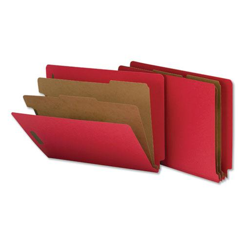 Deluxe Six-Section Colored Pressboard End Tab Classification Folders, 2 Dividers, Letter Size, Bright Red, 10/Box. Picture 1