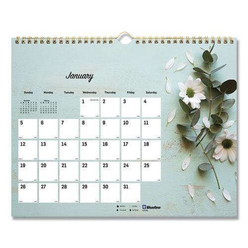 Romantic Wall Calendar, Floral, 8 x 11, 2021. Picture 1