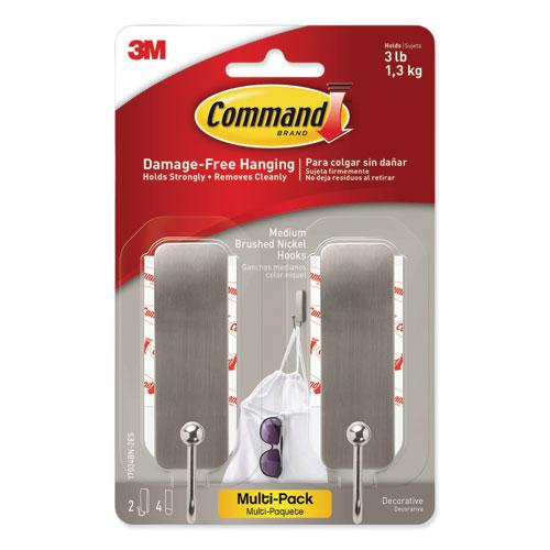 Decorative Hooks, Medium, Brushed Nickel, 2 Hook and 4 Strips/Pack. Picture 1