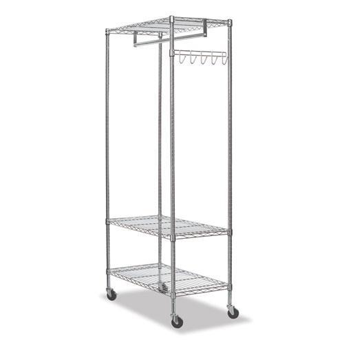 Wire Shelving Garment Rack, 30 Garments, 36w x 18d x 75h, Silver. Picture 2