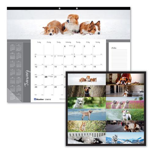 Pets Collection Monthly Desk Pad, 22 x 17, Puppies, 2021. Picture 1