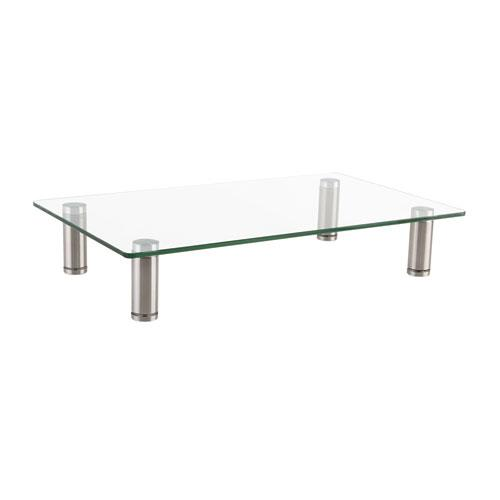 """Adjustable Tempered Glass Monitor Riser, 15.75"""" x 9.5"""" x 3"""" to 3.5"""", Clear/Silver, Supports 44 lbs. Picture 1"""