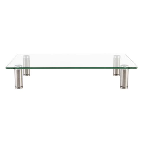 """Adjustable Tempered Glass Monitor Riser, 15.75"""" x 9.5"""" x 3"""" to 3.5"""", Clear/Silver, Supports 44 lbs. Picture 2"""