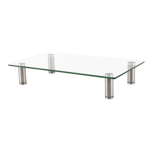 """Adjustable Tempered Glass Monitor Riser, 15.75"""" x 9.5"""" x 3"""" to 3.5"""", Clear/Silver, Supports 44 lbs. Picture 3"""