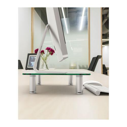 """Adjustable Tempered Glass Monitor Riser, 15.75"""" x 9.5"""" x 3"""" to 3.5"""", Clear/Silver, Supports 44 lbs. Picture 5"""