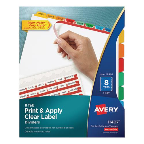 Print and Apply Index Maker Clear Label Dividers, 8 Color Tabs, Letter. Picture 1