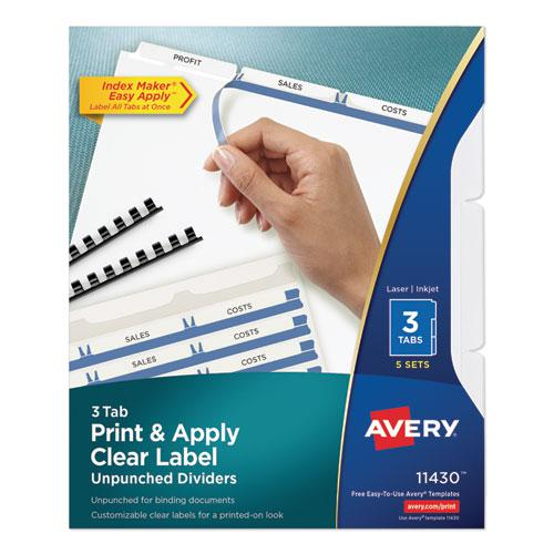 Print and Apply Index Maker Clear Label Unpunched Dividers, 3Tab, Letter, 5 Sets. Picture 1