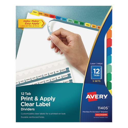 Print and Apply Index Maker Clear Label Dividers, 12 Color Tabs, Letter, 5 Sets. Picture 1