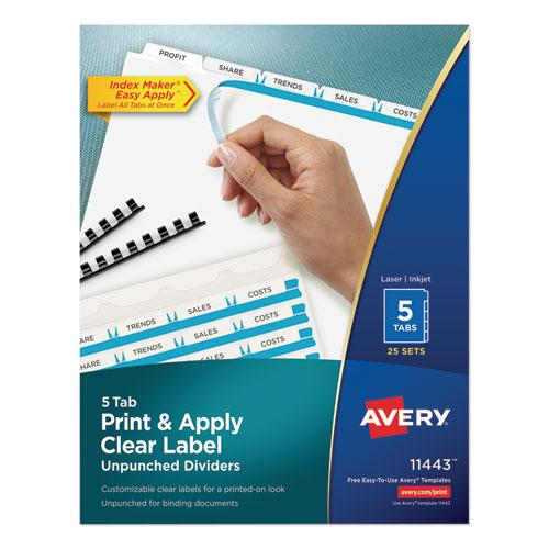 Print and Apply Index Maker Clear Label Unpunched Dividers, 5-Tab, Ltr, 25 Sets. Picture 1