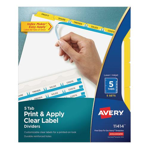 Print and Apply Index Maker Clear Label Dividers, 5 Color Tabs, Letter, 5 Sets. Picture 1