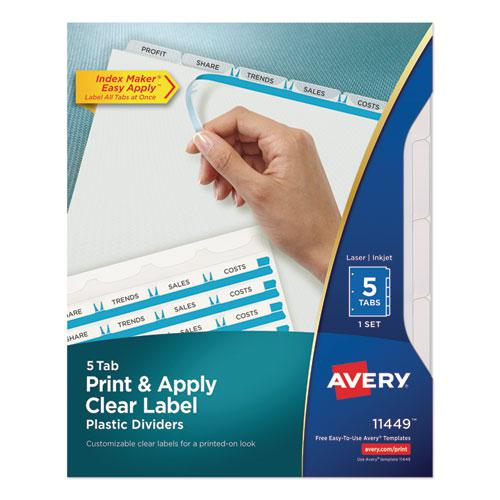 Print and Apply Index Maker Clear Label Plastic Dividers with Printable Label Strip, 5-Tab, 11 x 8.5, Translucent, 1 Set. Picture 1
