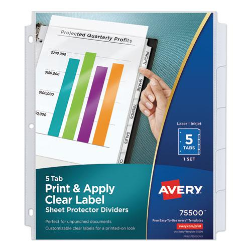 Print and Apply Index Maker Clear Label Sheet Protector Dividers with White Tabs, 5-Tab, 11 x 8.5, White, 1 Set. Picture 1
