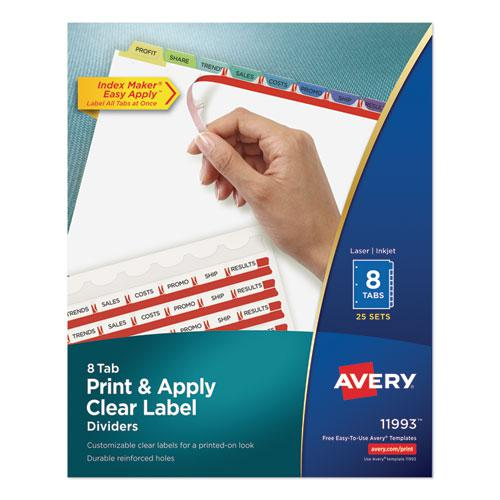 Print and Apply Index Maker Clear Label Dividers, 8 Color Tabs, Letter, 25 Sets. Picture 1