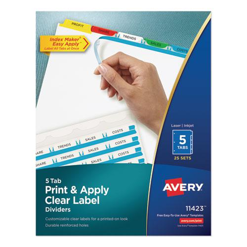 Print and Apply Index Maker Clear Label Dividers, 5 Color Tabs, Letter, 25 Sets. Picture 1